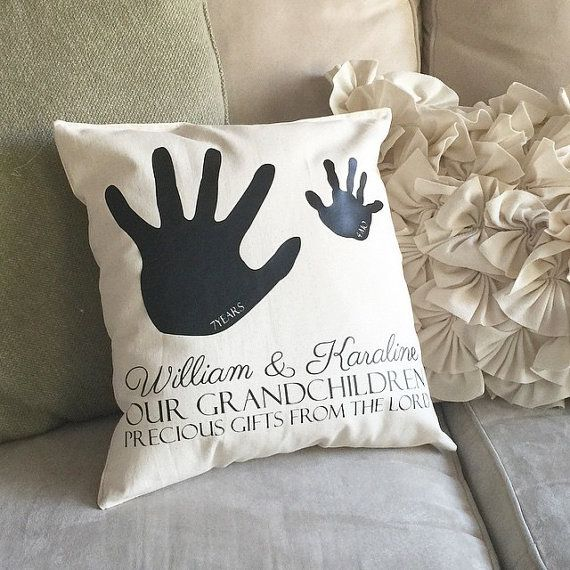 Personalized Grandparent Pillow With Handprints Grandma