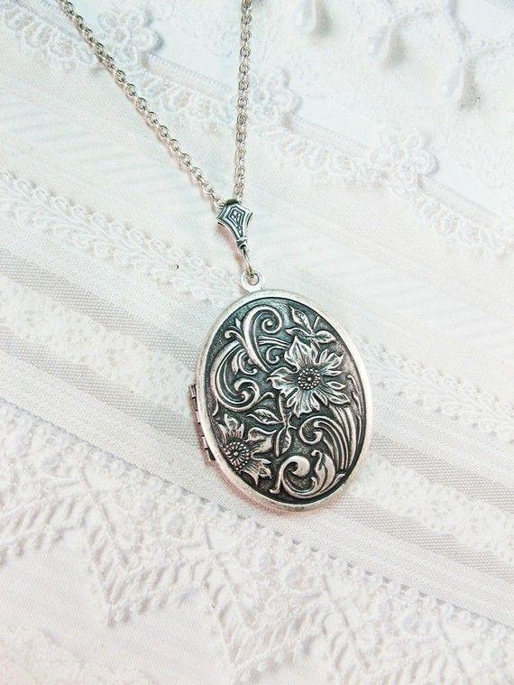 Silver Locket Necklace - Flower Garden