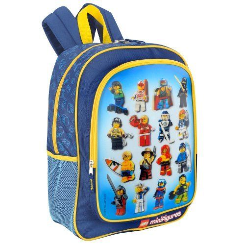 Lego Minifigure Backpack by Accessory Innovations. $23.95. Lego Minifigure Backpack. Whether you're going to school, a sleepover or on a trip, carry your stuff in style with this awesome LEGO Minifigures Backpack! It's designed with a cool hologram on the front panel and a repeating LEGO block pattern on the main compartment. Just the right size to take to school or on overnight trips, it features three zippered compartments for holding books, toys, school supplies, clo...