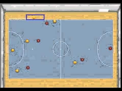 Jugada de estrategia de fútbol sala: Jugada aprovechamiento de zona de cambios desde saque de meta - Ejercicios De Fútbol Sala