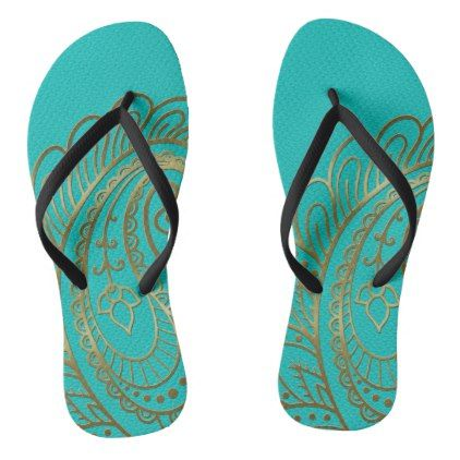 Golden Swirl on Teal Leather Flip Flops - golden gifts gold unique style cyo