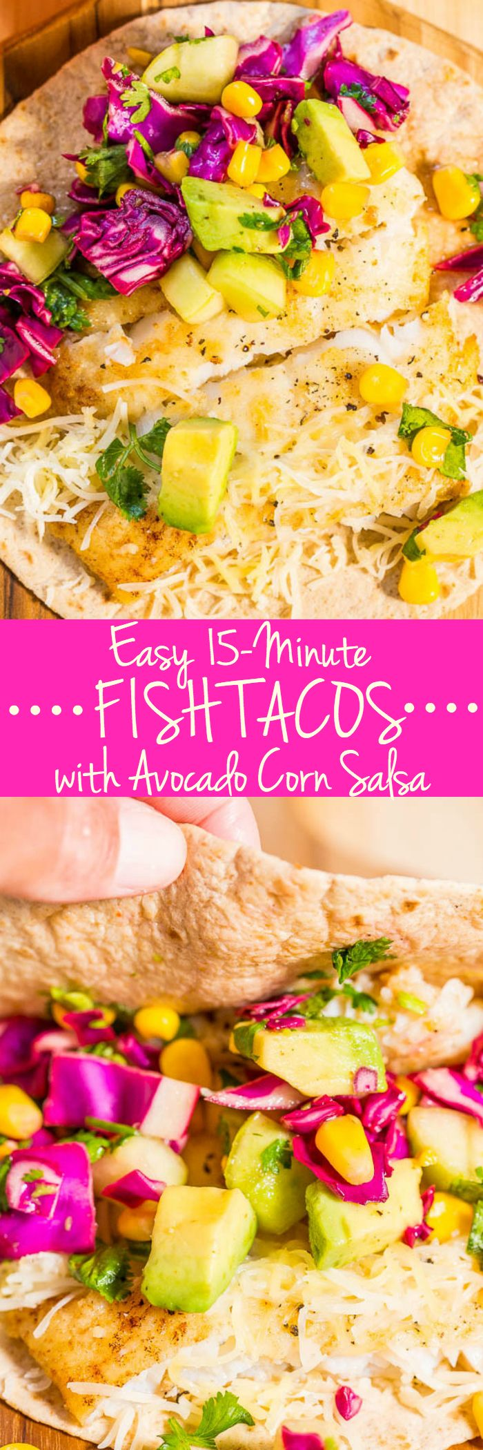 Easy 15-Minute Fish Tacos with Avocado Corn Salsa - Tons of big flavors in a fast, fresh and healthy meal!! A clean-eating recipe that tastes like comfort food (and summer!) #MemorialDay #FathersDay #FourthofJuly