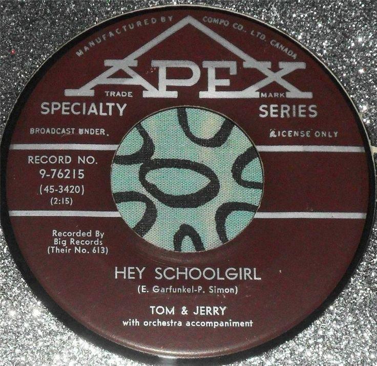 ROCKABILLY..TOM & JERRY (SIMON/GARFUNKEL)..HEY SCHOOLGIRL..1957..(M-)..CAN HEAR #EasyListeningCowboyCountryEarlyCountryNashvilleSoundPopROCKABILLY