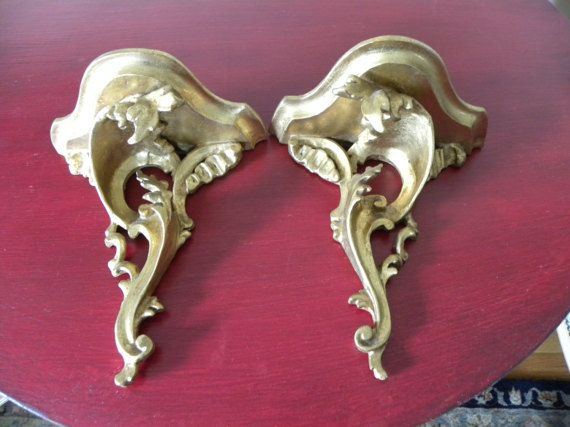 Lovely Vintage Pair of Florentine Wall Sconces. Gilt by onlinechic