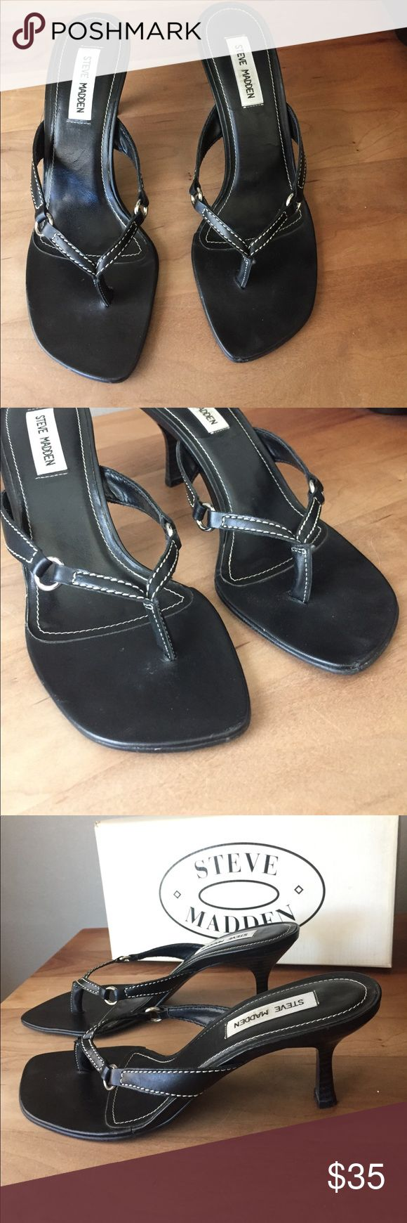 Black sandals ultima online - Black Leather Heeled Sandals White Piping Silver These Are An Excellent Pair Of Vintage