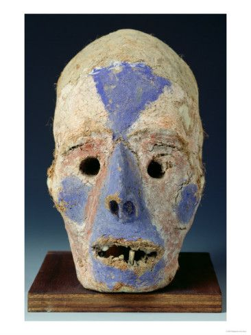 Mounted Head Representing Death, from Vanuatu, 11th-19th Century (Painted Clay) Giclee Print at AllPosters.com