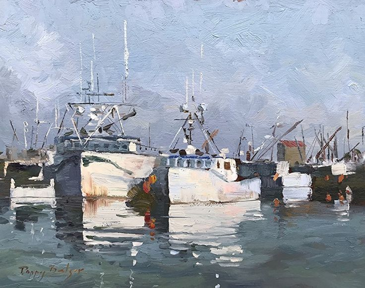 Big Boat, Smaller Boats by Poppy Balser  plein air oil ~ 11 x 14  Avaiiable from poppybalser.com $600 USD  Painted on location at the Digby Waterfront