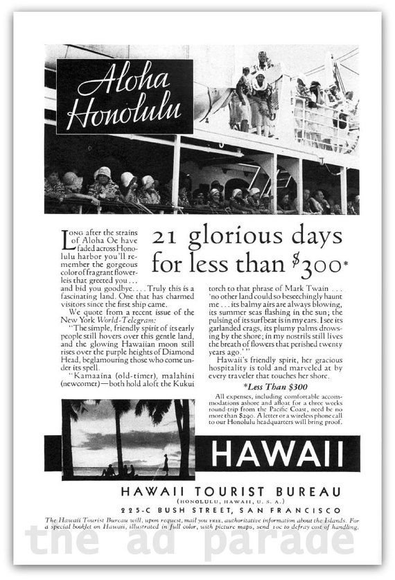 Hawaiian Cruise 1932 Magazine Ad Aloha Honolulu by TheAdParade