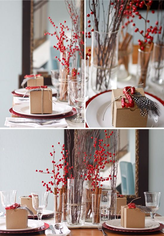 Christmas table from Brittany Stiles: Blue Accent, Red Berries, Christmas Tables, Brittany Stiles, Christmas Berries, Simple Christmas, Red Christmas, Christmas Decor, Merry Christmas
