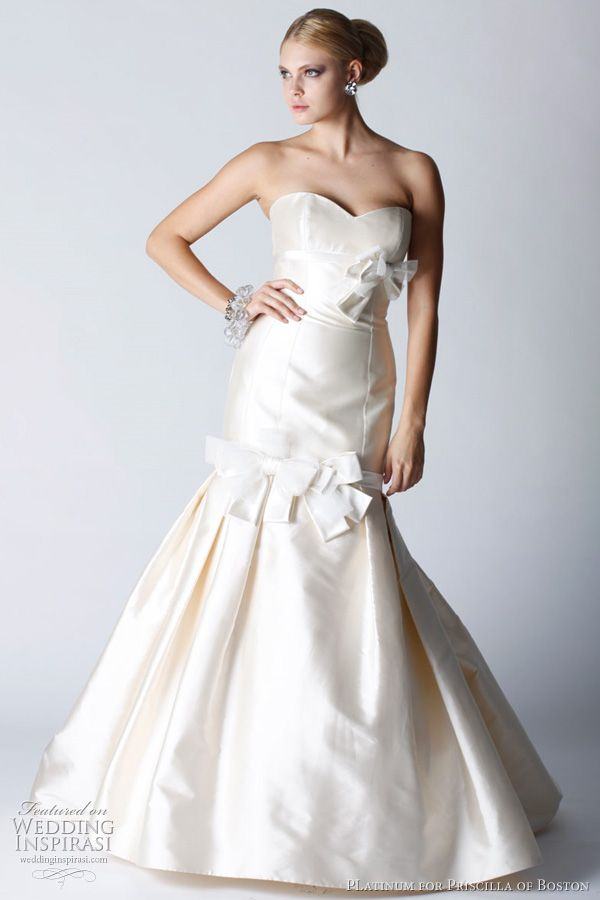 Priscilla of Boston. Silk Mikado ball gown with a full skirt and train.
