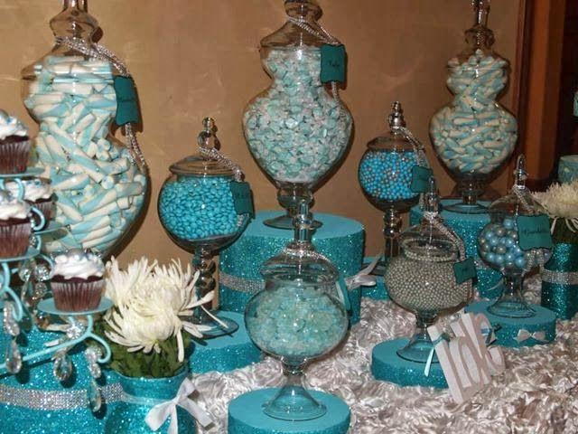 Tiffany themed candy buffet wedding stuff pinterest