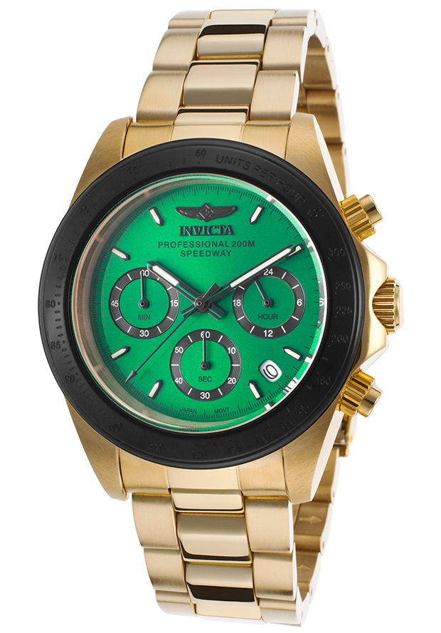Invicta Men's Speedway Chronograph 18K Gold Plated Steel Green Dial   83% OFF