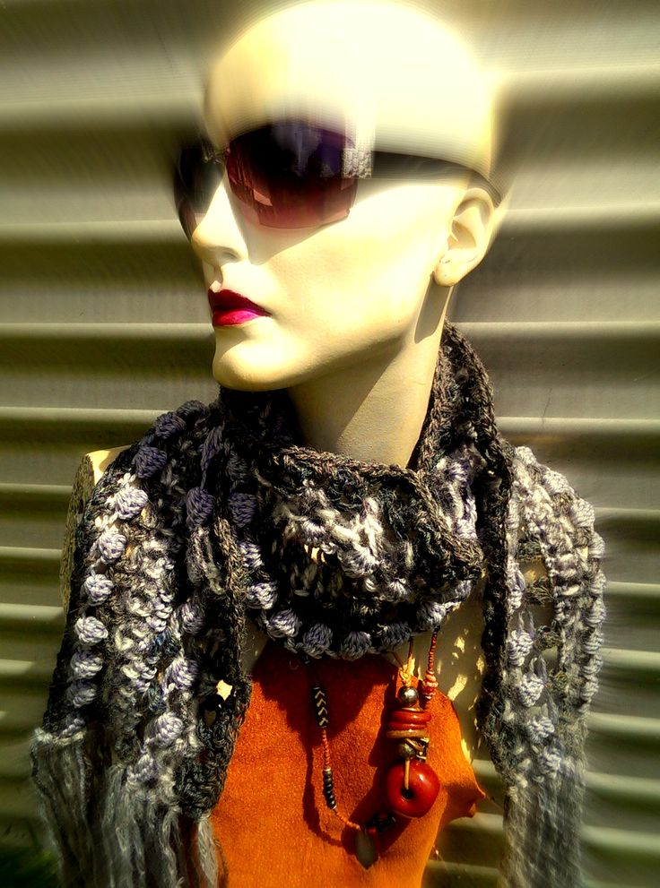scarf in 7 shades of grey wool, acrylic, mohair $85. free shipping thru Australia