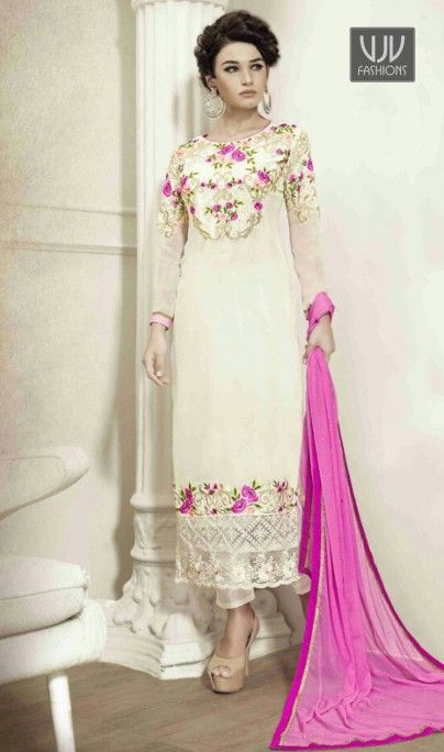 Cherubic Off White Georgette Resham Work Designer Salwar Suit You are sure to make a impressive fashion statement with this off white georgette designer suit. The embroidered and resham work looks chic and aspiration for festival and party