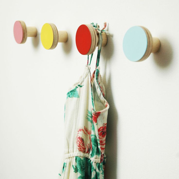 HOOKS plain colours wooden wall hangers from Chocolate Creative: Wall Hooks, Coats Hooks, Cool Kids, Idea, Wooden Wall, Kids Backpacks, Chocolates Creative, Kids Rooms, Desks Accessories