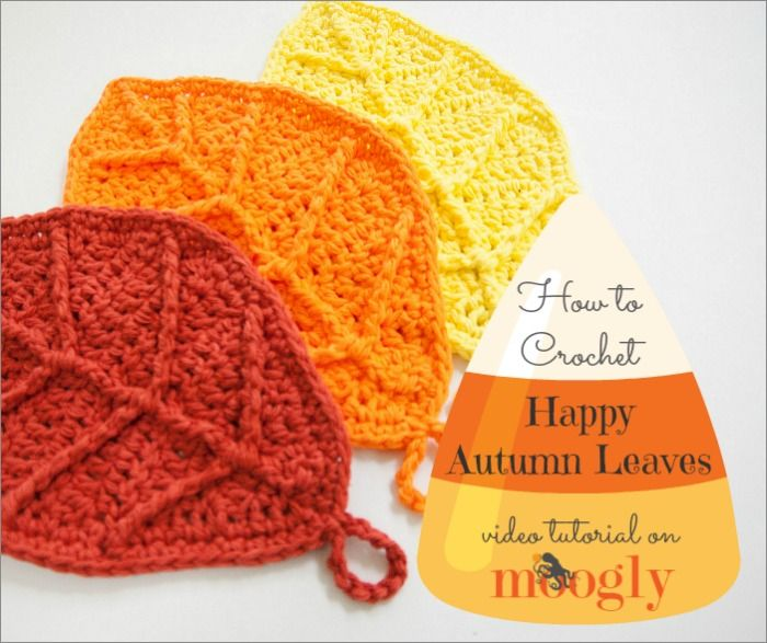 Happy Autumn Leaves - free #crochet pattern and video tutorial on Mooglyblog.com!