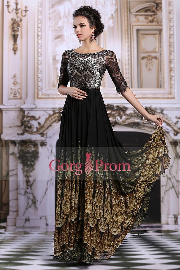 2015 Prom Dresses A Line Bateau Floor Length Lace