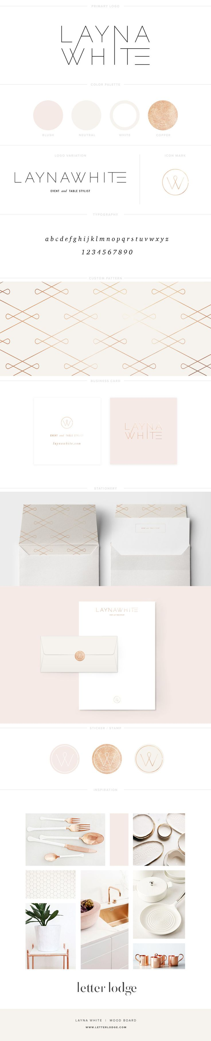 brand board modern logo design event stylist tablescape wedding styling gold copper rose gold rose quarts botanical white simple lifestyle blogger photographer graphic design letter lodge