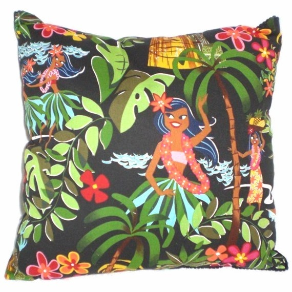 Retro Hawaiian Pillow  Tiki Leis Luaus and Aloha  Alexander Henry Fabric. $14,00, via Etsy.