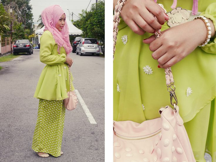 Nice combination of colours. To make her warm green outfit worked with her cool-undertoned skin, she combined it with a complimentary-coloured cool pink scarf.  Moral of the story - Always wear colours with complimentary undertones to your skin closest to your face.