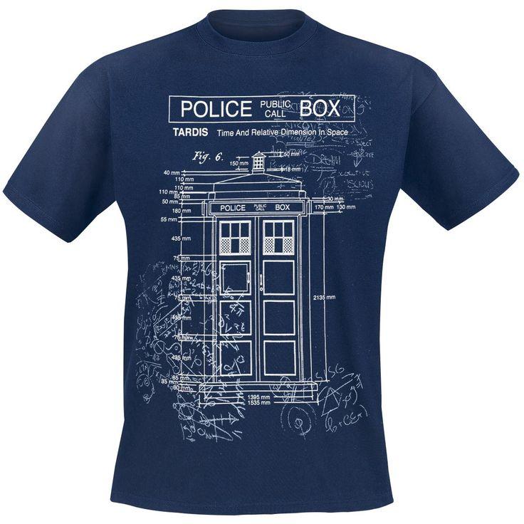 Doctor Who - Tardis - Plan  - met print op de voorkant - met ronde hals - met normale pasvorm  Niemand reist zo stijlvol door de tijd en ruimte als Dr. Who! Naast de mysterieuze Doctor zelf, is het blauwe politiehokje op de voorkant van het T-shirt