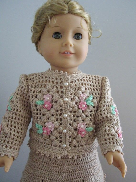 Hand Crochet Vanilla Jacket and Skirt   American Girl by DandyMe