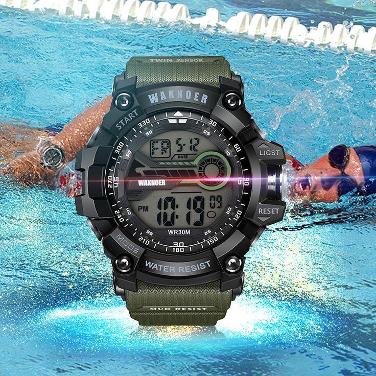 Comprar WAKNOER Moda Reloj Digital de Los Hombres Del Deporte de Alarma Multifunción Reloj de Los Hombres Relogio masculino Al Aire Libre 30 M Impermeable erkek kol saati ..... Haga clic en el enlace para verificar el precio
