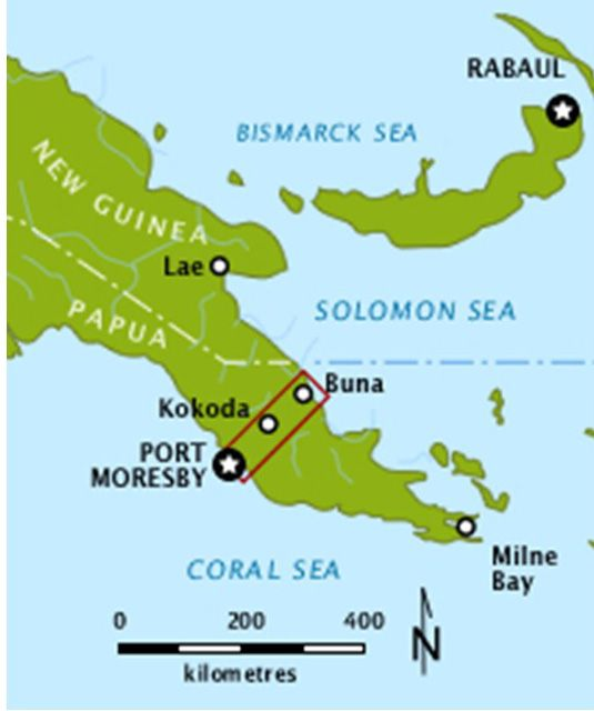 Location of the Kokoda Trail within Territory of Papua, 1942.  From Wikipedia.