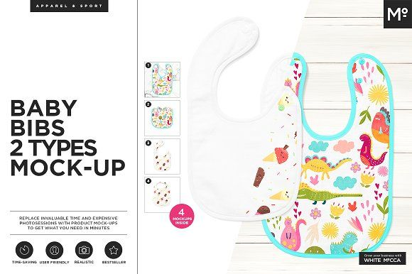 Baby Bibs 2 Types Mock Up Baby Bibs Wellness Design Mockup