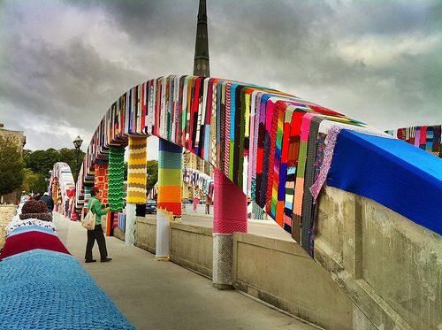 textile street art in Cambridge, Ontario. The Main Street bridge was wrapped in knitted fabrics, custom knitted by over 1000 volunteers