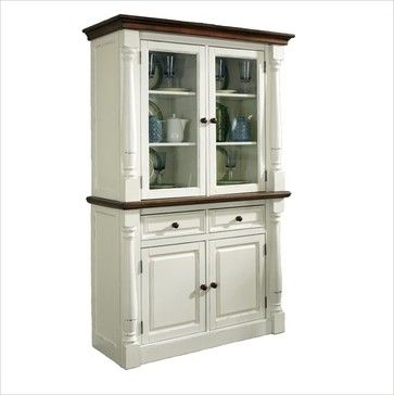 Home Styles Monarch Buffet and Hutch in White and Oak Finish - transitional - buffets and sideboards - cymax