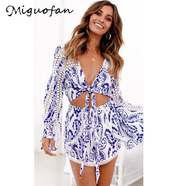 3dc2dbac2986 Miguofan Women Sexy Lace Playsuits Rompers Blue-and-White Porcelain Print  Long Sleeve Bow Romper Jumpsuit Female 2019 Autumn New