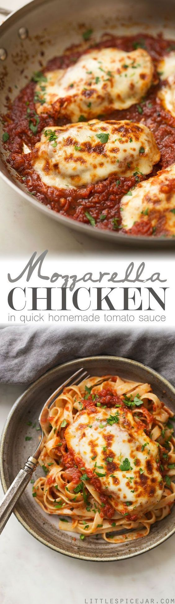 30 Minute Mozzarella Chicken in Tomato Sauce - a quick and easy weeknight recipe for chicken smothered in tomato sauce with melty mozzarella! Serve with bread or pasta! #chickenmozzarella #chickenintomatosauce #mozzarellachicken #30minutemeals | Littlespicejar.com