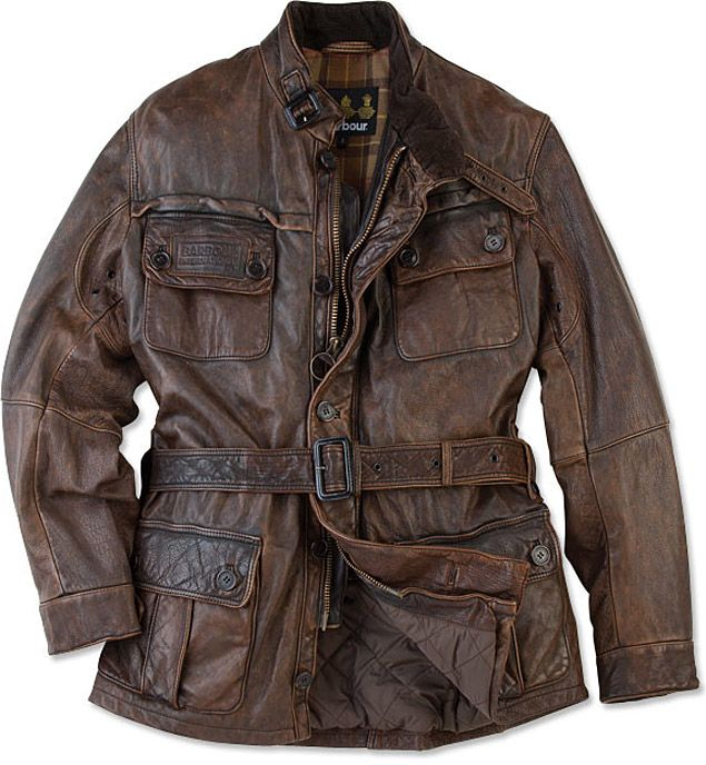 """If you remember a time before the combination of """"leather jacket"""" and """"motorcycle"""" was synonymous with """"Harley-Davidson"""" then you'll definitely appreciate this Barbour Vintage International Leather Jacket ($1,200). Looking like something more fitting of Young Indiana Jones than Easy Rider, this lengthy jacket features a worn, broken-in vintage look to its brown leather exterior, a zip front with button storm flap, various pockets, tartan wool interior lining with a quilted drip strip at the…"""
