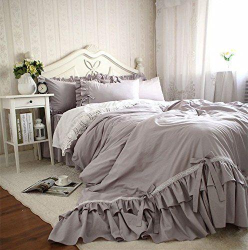 綿花世界 グレーが大好き! アンティーク風おしゃれな布団カバーセット 蝶結びとホワイレース付き ベッドカバーセット