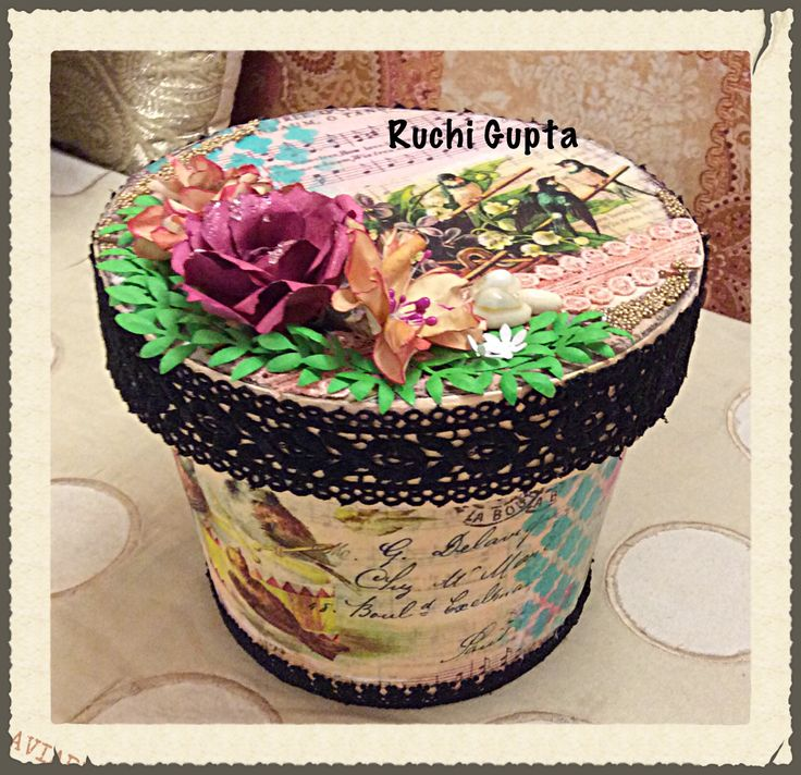 Decoupage and paper flowers