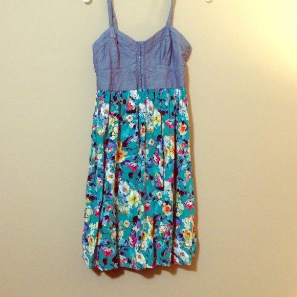 Sundress Cute springtime sundress with denim bustier and turquoise flowy floral skirt Xhilaration Dresses