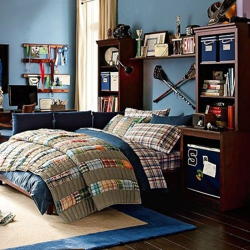 A lacrosse boys room more like i want back wall to - Bedroom ideas for teenage guys with small rooms ...