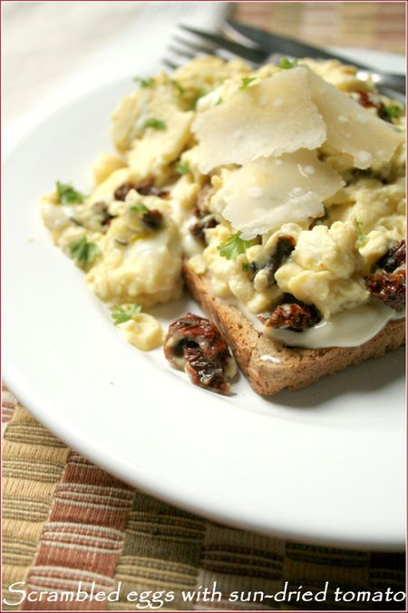 scrambled eggs with sun-dried tomato and parmesan | Deliciousness ...