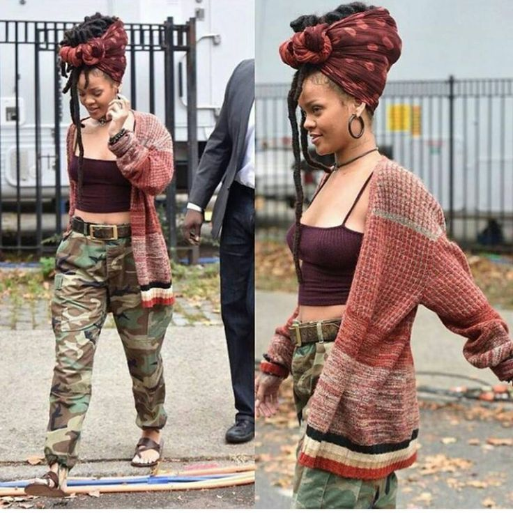 I'm so in love with this look. The simplest but most efficient lol. I just love her dreads really and how she wrapped that thing on her head lol