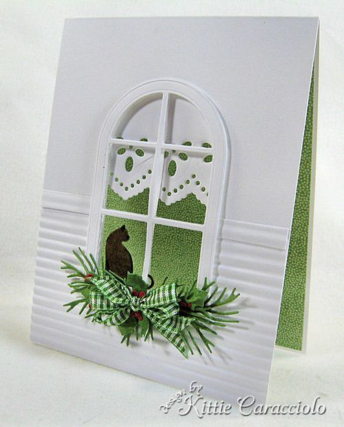 Good idea for a card for those who love cats...other things could be stamped as well...square widow cards could work too. site:Kittie Kraft