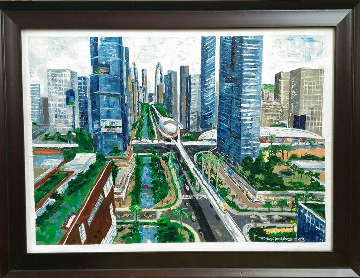#Knife #Painting Capital Amaravathi seed master plan.. Medium: acrylic on canvas Size: 16 x 20 inches For more details contact 9652579869