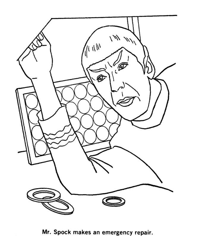 star trek coloring page spock repairs the enterprise - Star Trek Coloring Book