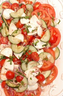 """Love making this in the summer with garden fresh tomatoes and homemade Mozz cheese! """"Tomato and Handmade Mozzarella Salad"""""""