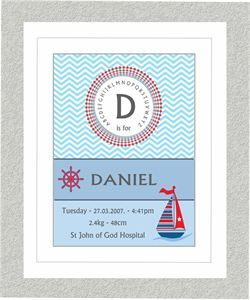 Nautical Chevron Birth Print in white frame