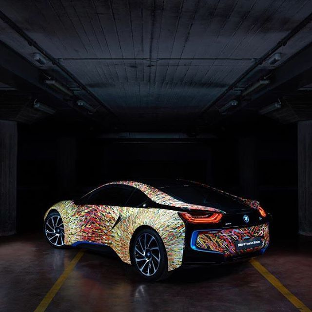 """@bmwitalia and @garageitaliacustoms have created the #BMWi8 Futurism Edition to celebrate 50 years of BMW history in Italy. The Edition combines the icon of future mobility with the Italian art of Giacomo Balla. """"Lampada ad Arco"""", the work of Giacomo Balla, is replicated on the car. The original painting hangs in the Museum of Modern Art in New York. It represents a street lamp powered by electricity under moonlight.  _________ BMW i8 plug-in hybrid BMW eDrive: energy consumption (combined)…"""