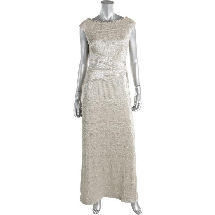 Lauren Ralph Lauren Womens Petites Metallic Ruched Evening Dress