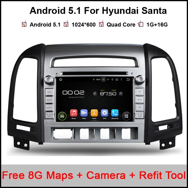 7 inch Android Quad Core ROM 16G 1024*600 Capacitive Car DVD Player For Hyundai Santa Fe 2006 2007 2008 2009 2010 2011 Autoradio