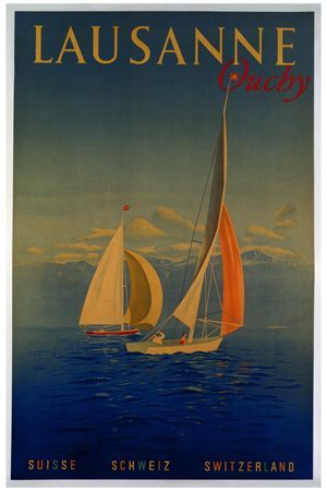 Lausanne Switzerland vintage poster G90330 , Vintage Poster Market : Online Ocean, Boats Posters & art illustrations, old reproduction