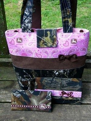 john deere wedding ideas  | Mossy Oak Camo and Pink John Deere Purse Wallet 3 pc Set by purse4you